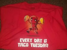 """Deadpool """"Every Day Is Taco Tuesday"""" Official T-Shirt Men's XL Extra Large Red"""