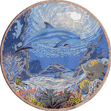 "80"" HandMade Art Tile Stone Medallion Marine Life  Dolphin Decor Marble Mosaic"