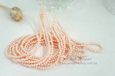 5 strands(900 beads) 3mm Light Pink Imitation Plastic Round Loose Pearl Beads