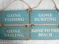 Wooden Shabby Chic Distressed Retro Door Wall Sign Fishing Surfing Beach Sailing