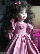 excellent handmade porcelain doll long curly soft hair signed & rare