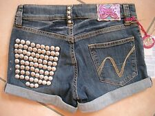 (H747) Nolita Pocket Girls used look Jeans Hose Hot Pants mit Stahlnieten gr.140