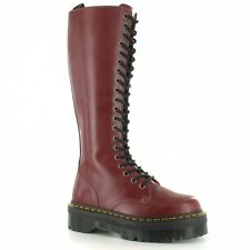 Dr Martens Quad Retro Britain Womens 20-Eyelet Platform Boots - Cherry Red UK 7