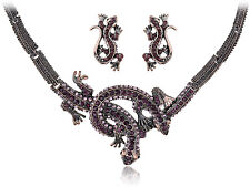 Twin Purple Crystal Rhinestone Lizard Reptile Pair Necklace Earring Set