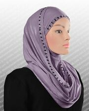 Metallic JERSEY HOODED Hijab slip on Scarf SHAWL WRAP Women Head Wrap