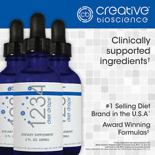 creative bioscience 1234 Diet Drops, 3 Bottles, 2 Ounces Each - Free Shipping!
