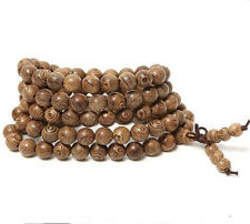 Tibetan Buddhist wrap around brown wooden bracelet necklace prayer worry beads