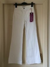 BNWT OASIS WHITE POPPY JEANS  HIGH WAISTED FIT AND FLARE STRETCH SZ 16  L 32 NEW