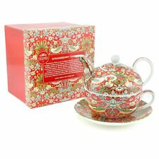 William Norris Tea Set For One Tea Pot Cup Saucer Gift Box Red Strawberry Thief