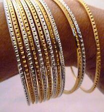 Brazaletes Set 12, 6 de plata y 6 oro Bollywood Indio danza del vientre 2.10CM Metal