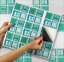 "9 Tile Transfer Stickers 4"" x 4"" AQUAGLASS for Kitchen & Bathroom tiles"