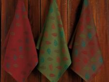 Set 3  NWT DII 100% Cotton Sage Vermillion Teal Brown FALL LEAVES Kitchen TOWEL