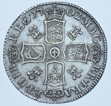 RARE 1702 PLUMES SHILLING, BRITISH SILVER COIN FROM ANNE GVF