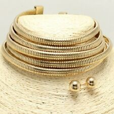 "11"" gold 5 row multi layer coil choker bib collar necklace earrings 1.75"" wide"
