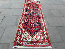 Old Traditional Hand Made Persian Oriental Blue Wool Long Runner Rug 296x100cm