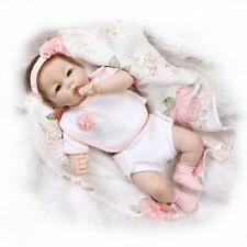 "52cm/21"" Reborn Baby Doll Girl Doll Lifelike Soft Half vinyl body /1524G-1"