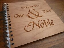 Personalised Engraved Wooden Wedding Guestbook : Custom Guest Book