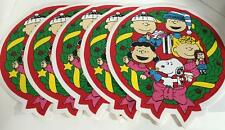 Peanuts Snoopy Christmas Vinyl Placemats Lot of 5 Charlie Brown Lucy Round