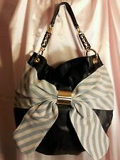 NWT Anthropologie DEUX LUX  TOTE Bow Canvas & Black Leather Gold tone hardware