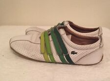 Lacoste Mystere Punched White Leather Green Velcro Straps Size 7.5 EU 39