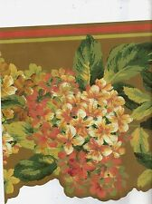PEACH, GREEN, AND GOLD FLORAL WALLPAPER BORDER JT7667B