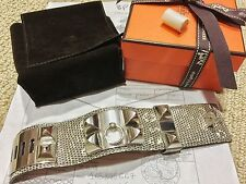 2016 Rare NIB Stamp X HERMES CDC Collier de Chien OMBRE Lizard PHW Silver