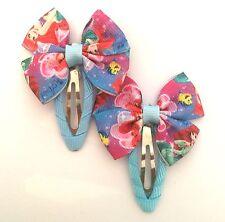 Pair Ariel Little Mermaid Girls Toddler Grosgrain Ribbon Bow Hair Clips Snaps