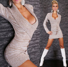 Sexy Strick Carmen Schal Kragen Pullover Mini Kleid 34 36 38 TOP Beige