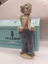 "Lladro #7600 ""Little Pals"" Clown w/ Dogs Handmade Figurines 1985, Rare NEW"