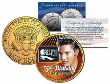 ELVIS PRESLEY 24KT GOLD 75TH BIRTHDAY 1935-2010 JOHN F. KENNEDY HALF DOLLAR!