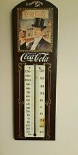 Vtg Drink Coca Cola Wooden Sign Thermometer George Nathan Associates no 1367