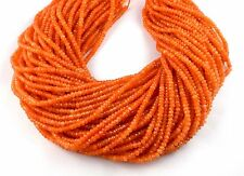 """5 Strands Orange Sapphire Chalcedony Micro Faceted 4mm Gemstone Beads 14.5"""" Long"""