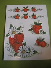 Meyercord Vintage Water Applied Craft Decals Strawberries 1 sheet