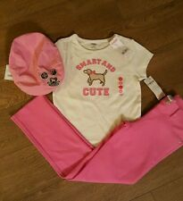 GYMBOREE SMART GIRLS RULE PINK LEGGINGS LONG DOG CUTE TOP GIRLS OUTFIT HAT NWT 8