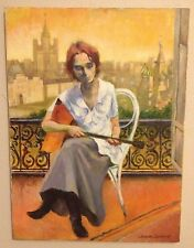 Vintage Painting by Jacques Zuccaire (1909-2006) French/Amer. Lady w/Instrument