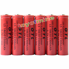 6x 3.7V 18650 GTL Li-ion 5300mAh Red batteria ricaricabile per LED Torch