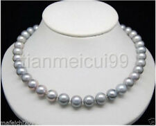 "HUGE AAA 9-10MM NATURAL ROUND SOUTH SEA GENUINE GRAY PEARL NECKLACE 18""14K"