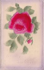 Vintage Postcard BIRTHDAY GREETINGS embossed Red Rose flocked