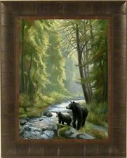 BY THE STREAM by Lucie Bilodeau BLACK BEAR MAMA CUB 17x21 FRAMED PRINT PICTURE
