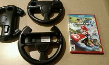 Mario Kart 8 (Nintendo Wii U, 2014) With 3 Black Steering Wheel Accessories