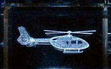 "Helicopter 3D Laser Etched Crystal Glass Tower 2-1/4""x1-1/2"" NEW Gift Box"