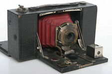 Antique Kodak No. 2 Folding Pocket Brownie Camera Model B, red bellows, wood
