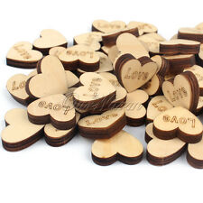 "100Pcs ""Just Married"" Wooden Love Heart Wedding Decoration Rustic Table Crafts"