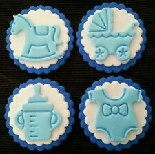 12x BABY / BABY SHOWER BLUE EDIBLE CUPCAKE TOPPERS / DECORATIONS