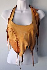 Leather Halter Fringe hippie boho cavewoman festival adjustable costume S M L