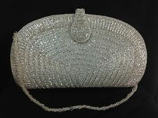 Art Deco Vintage Style Silver Hand Beaded Crystal Clutch Evening Wedding Handbag