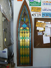 ANTIQUE CHURCH STAINED GLASS WINDOW - LATE 1800's - READY TO MOUNT ON WALL