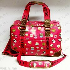 Authentic LYDC Cupcake Red Pink Holdall Travel Weekend Bag Shoulder Handbag