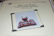 Knit One Crochet Too Knitting Pattern Mad for Plaid Pooch Sweater & Pillow