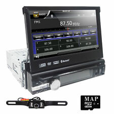 GPS Navigation HD Single 1DIN Car Stereo DVD Player Bluetooth iPod MP3 TV+Camera